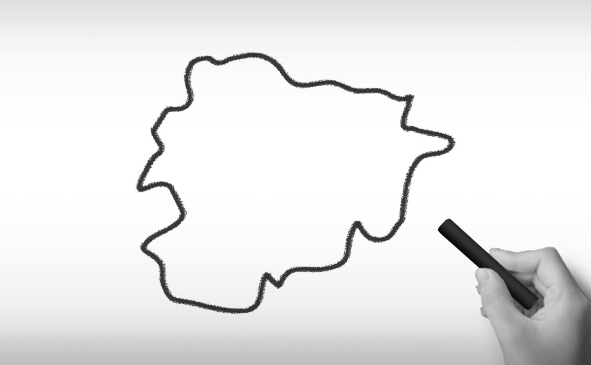 アンドラ公国の白地図イラスト