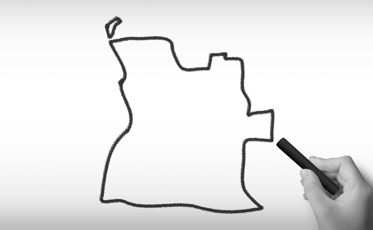 アンゴラ共和国の白地図イラスト