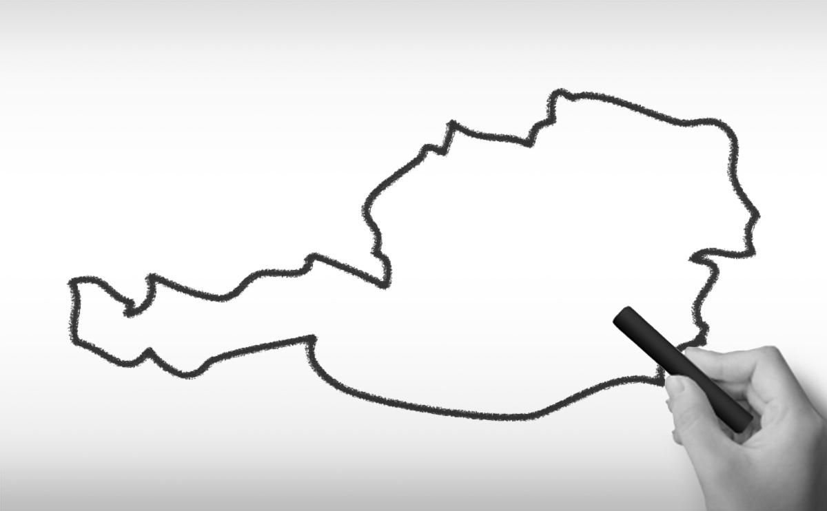 オーストリア共和国の白地図イラスト