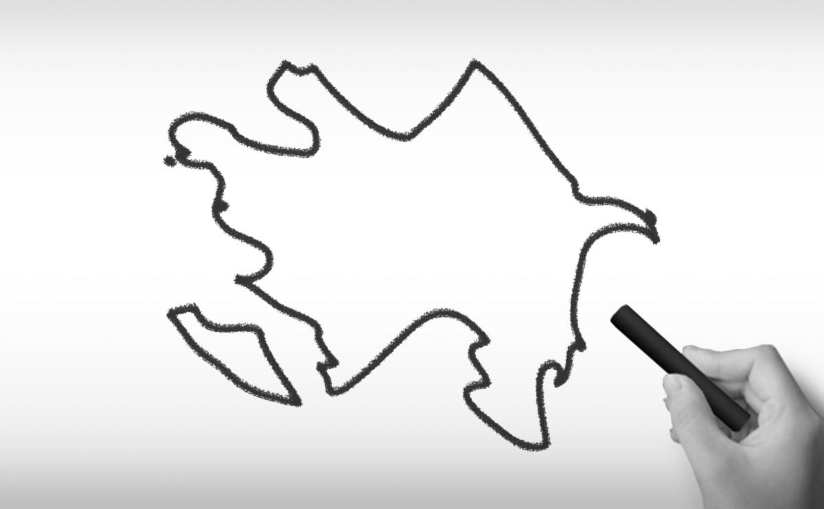 アゼルバイジャンの白地図イラスト