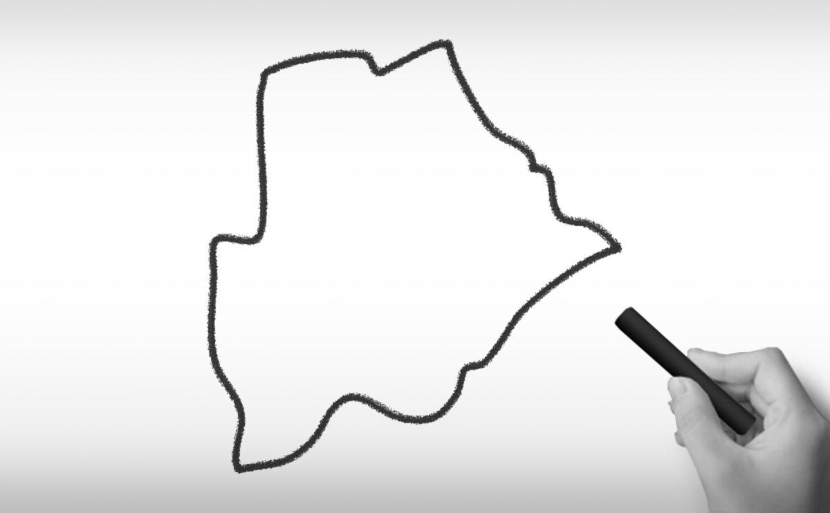 ボツワナ共和国の白地図イラスト