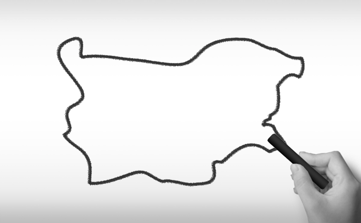 ブルガリア共和国の白地図イラスト