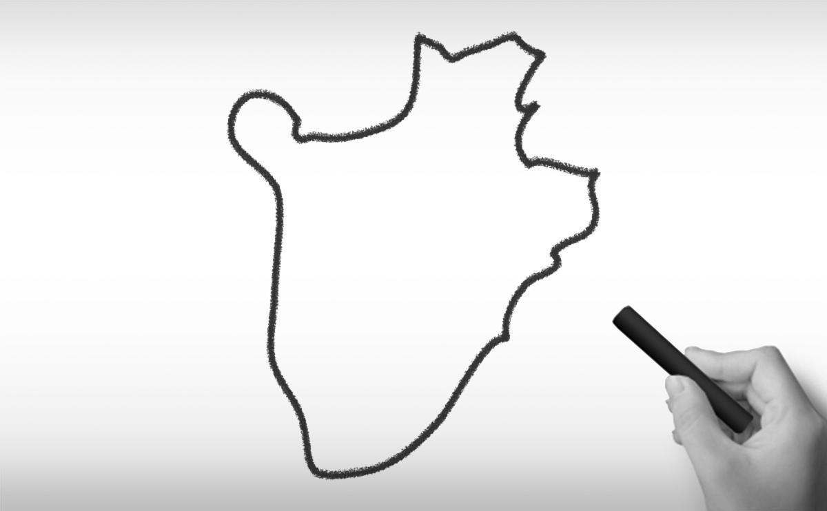 ブルンジ共和国の白地図イラスト
