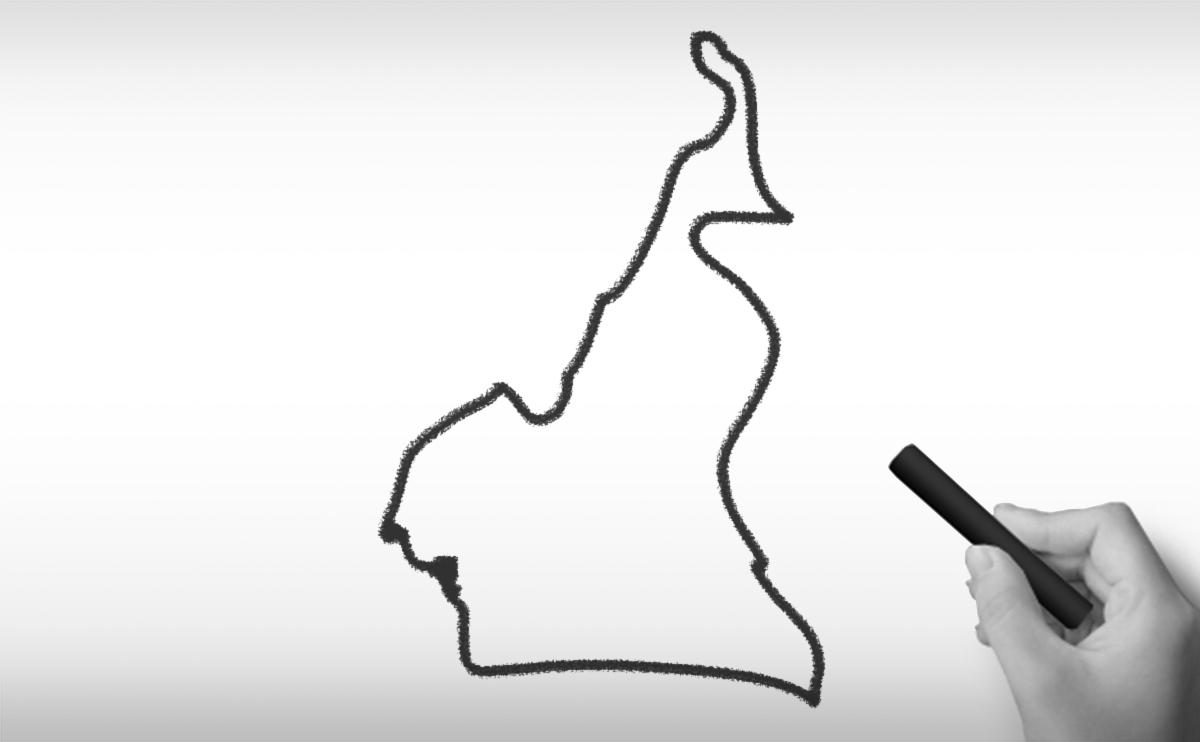 カメルーン共和国の白地図イラスト