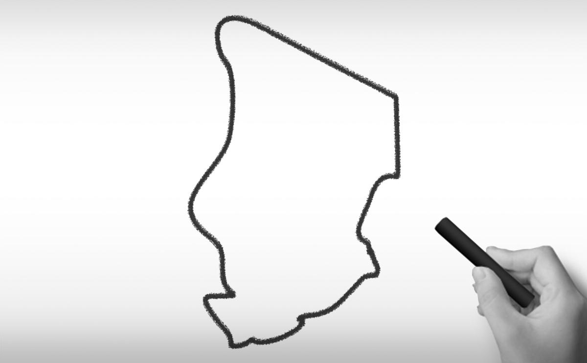 チャド共和国の白地図イラスト