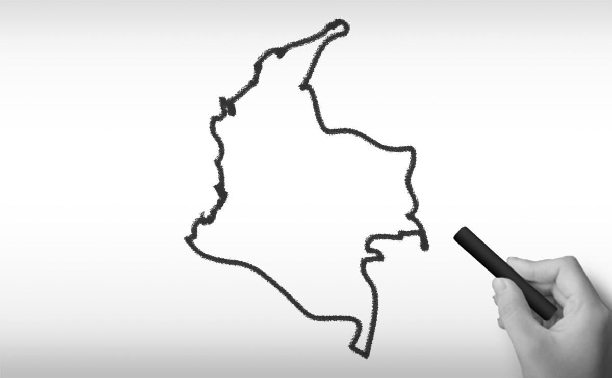 コロンビアの白地図イラスト