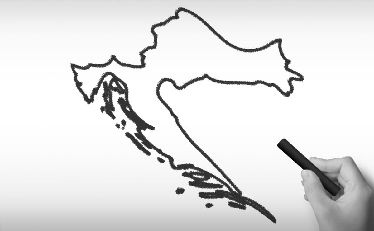 クロアチア共和国の白地図イラスト