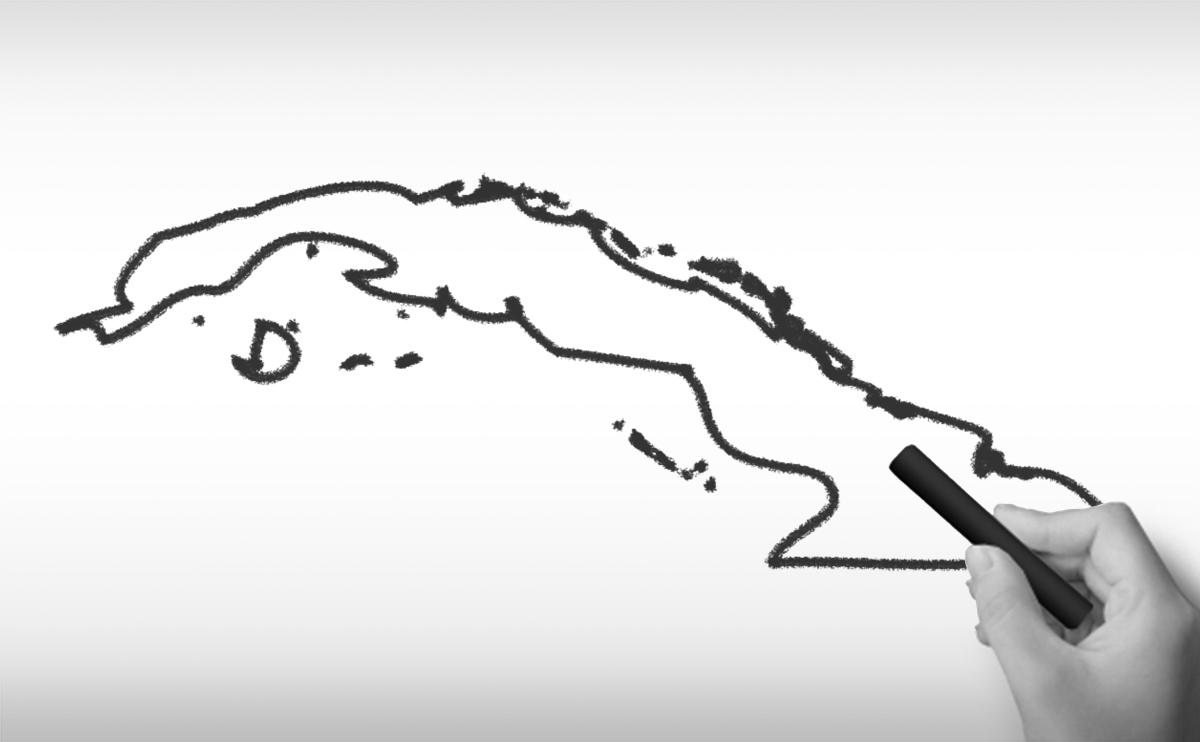キューバ共和国の白地図イラスト