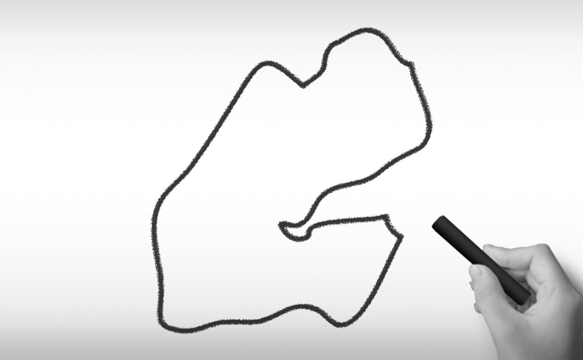 ジブチ共和国の白地図イラスト