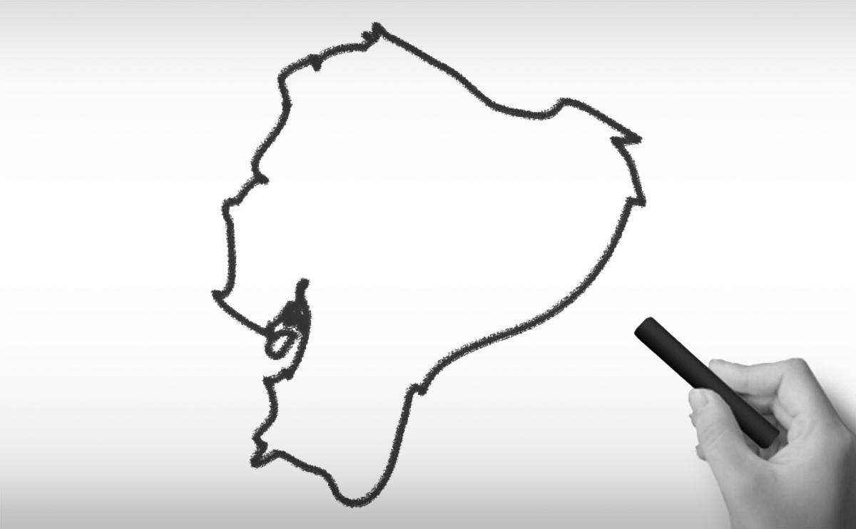 エクアドル共和国の白地図イラスト