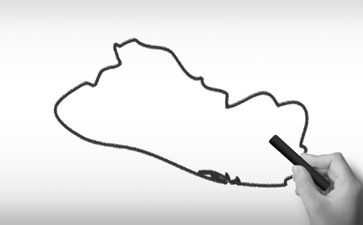 エルサルバドル共和国の白地図イラスト