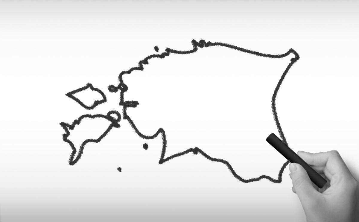 エストニア共和国の白地図イラスト