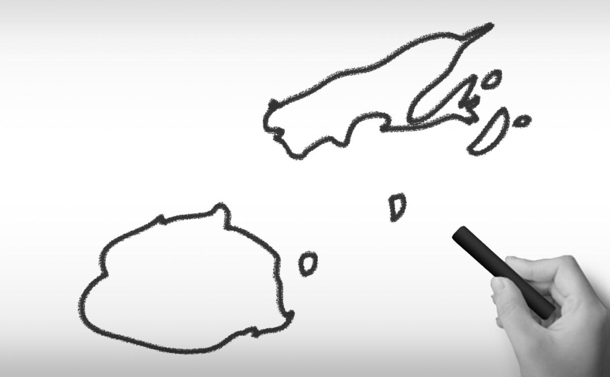 フィジー共和国の白地図イラスト