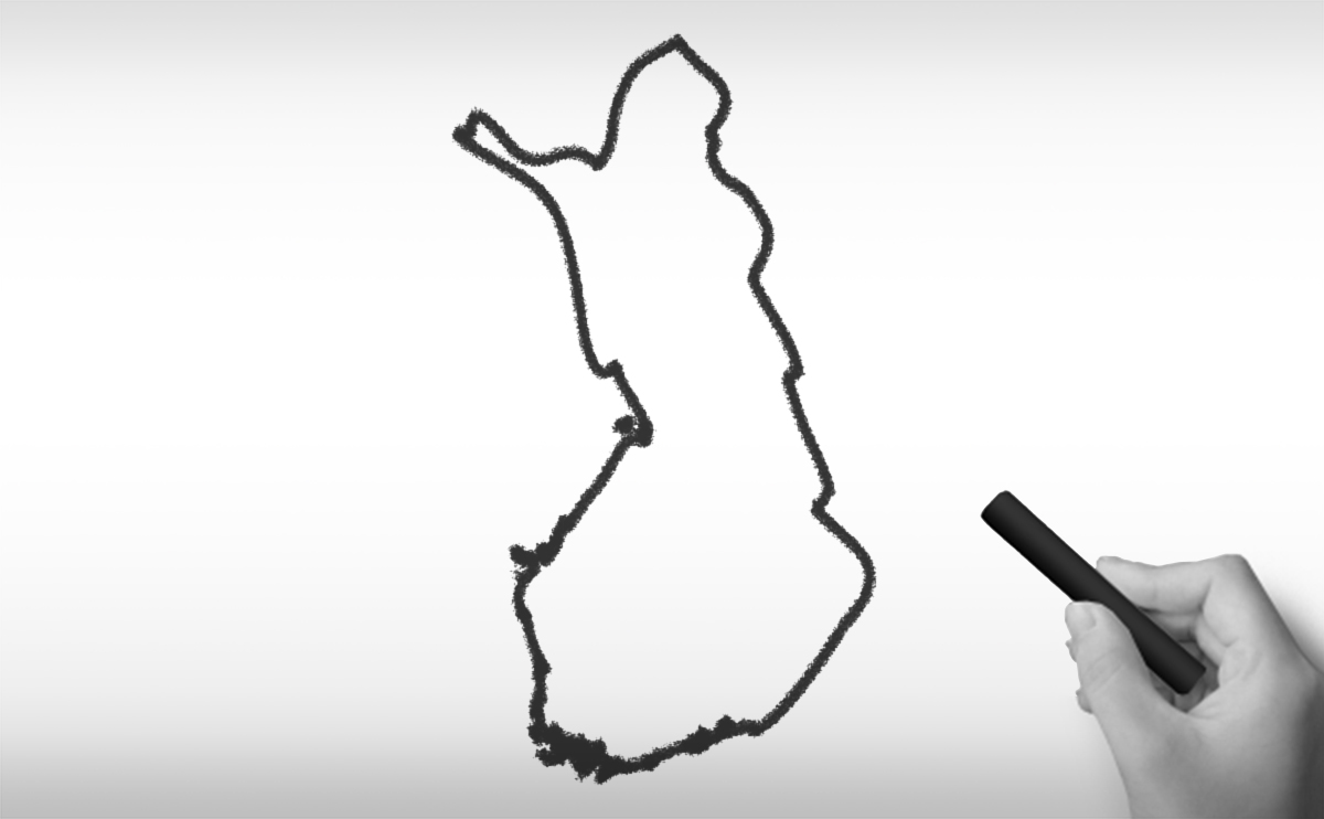 フィンランド共和国の白地図イラスト