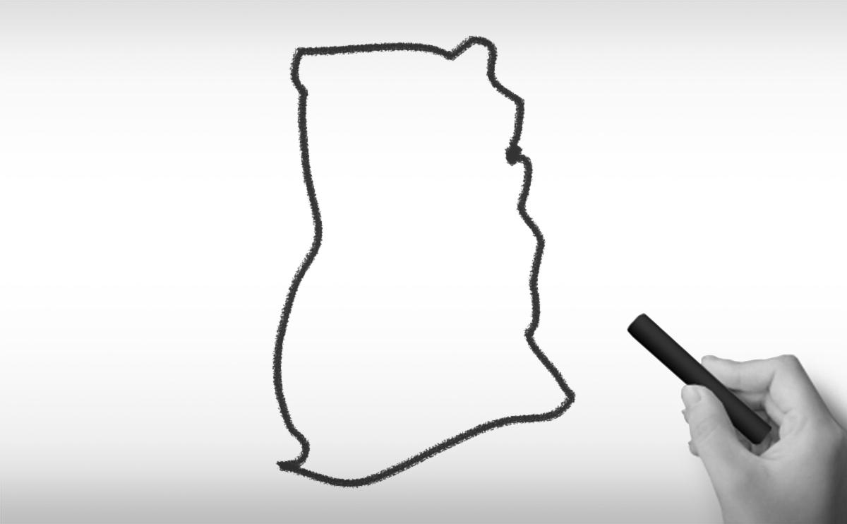 ガーナ共和国の白地図イラスト