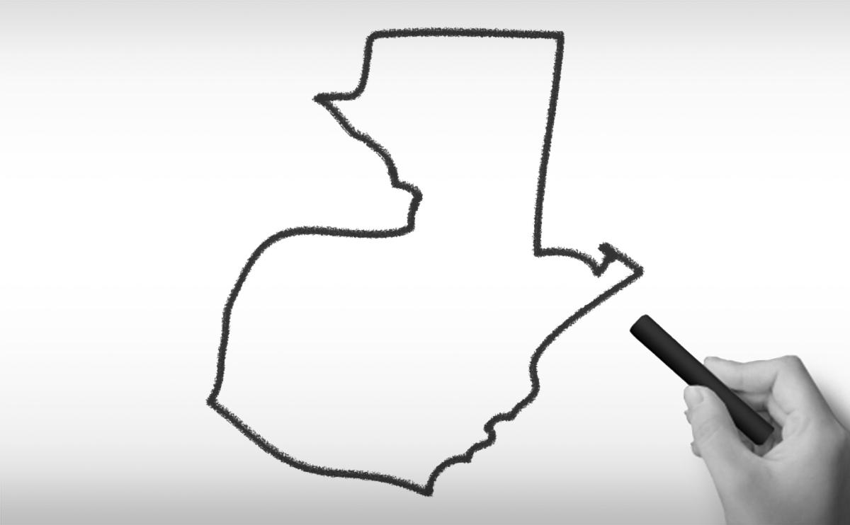 グアテマラ共和国の白地図イラスト