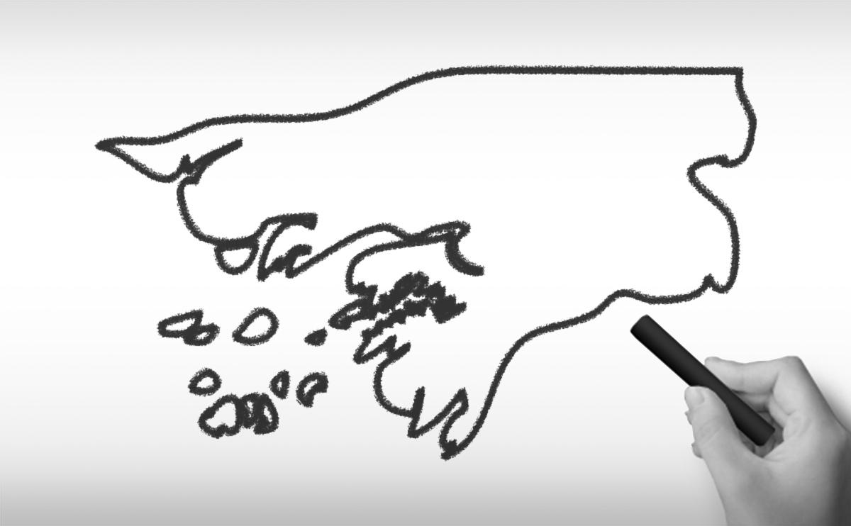 ギニアビサウ共和国の白地図イラスト