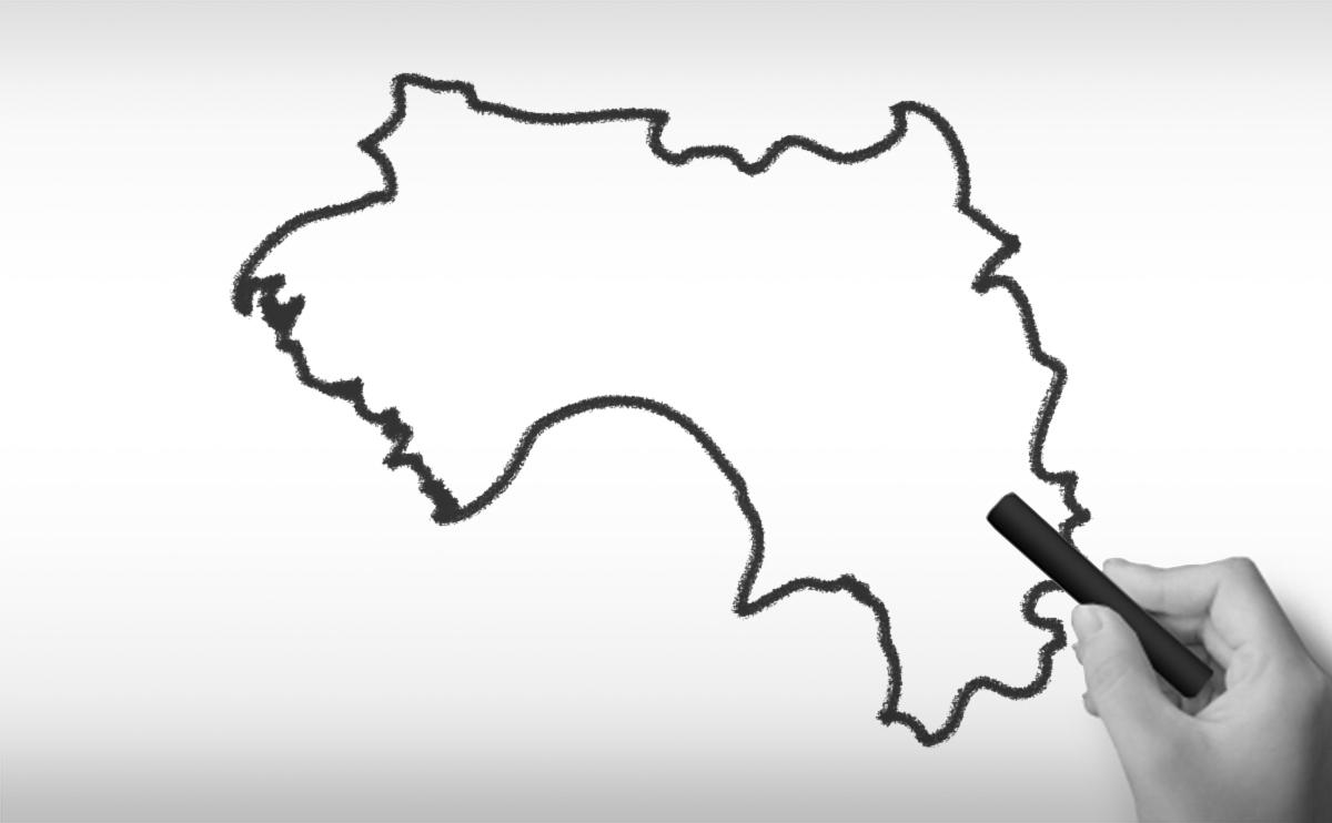 ギニア共和国の白地図イラスト