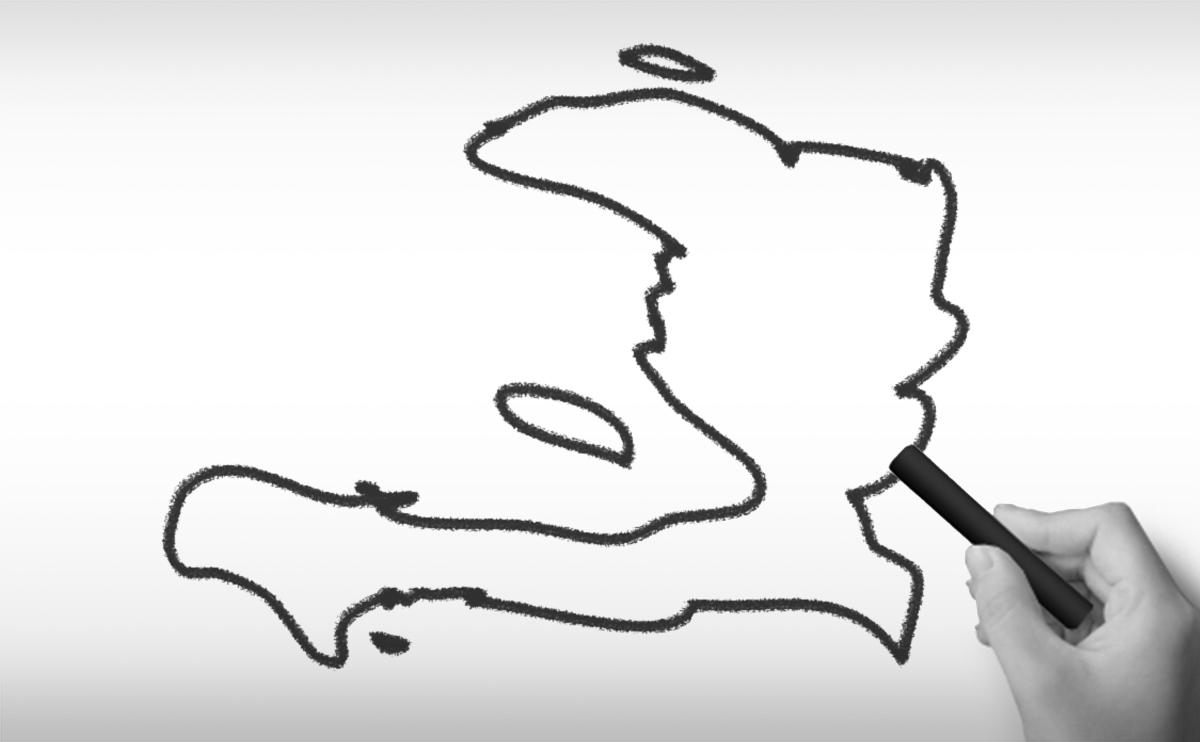 ハイチ共和国の白地図イラストイラスト