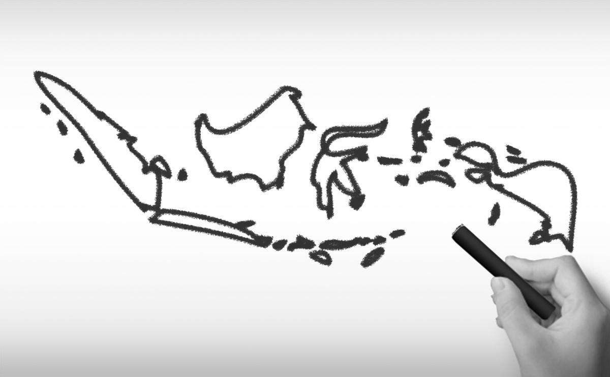 インドネシア共和国の白地図イラスト