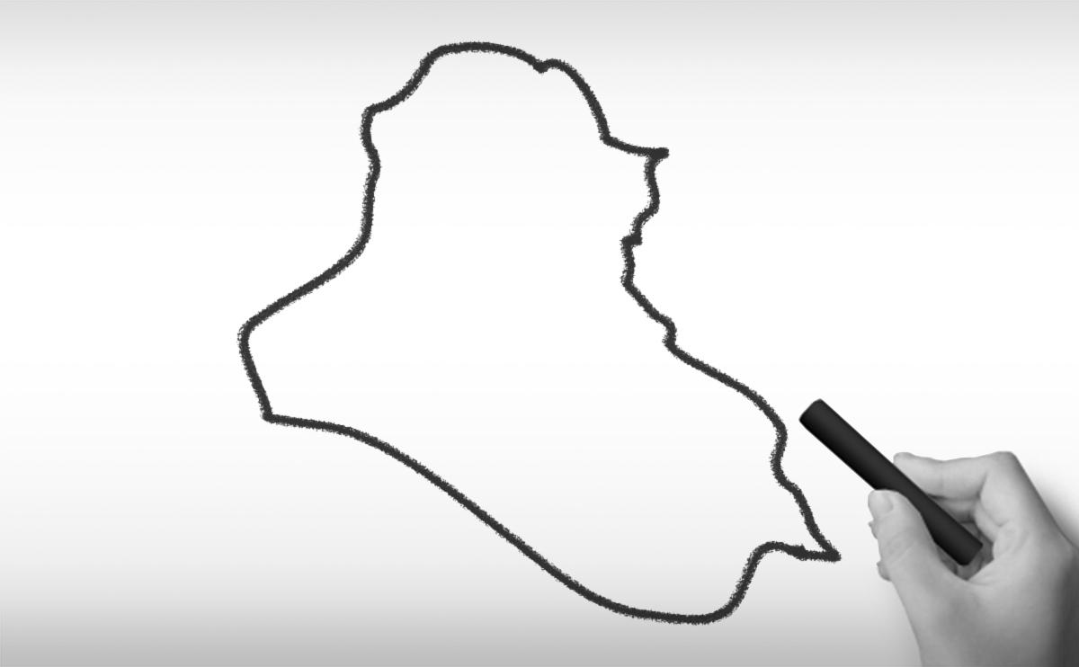 イラク共和国の白地図イラスト