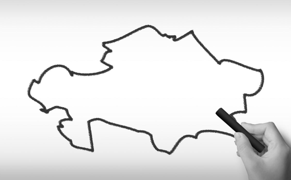 カザフスタン共和国の白地図イラスト