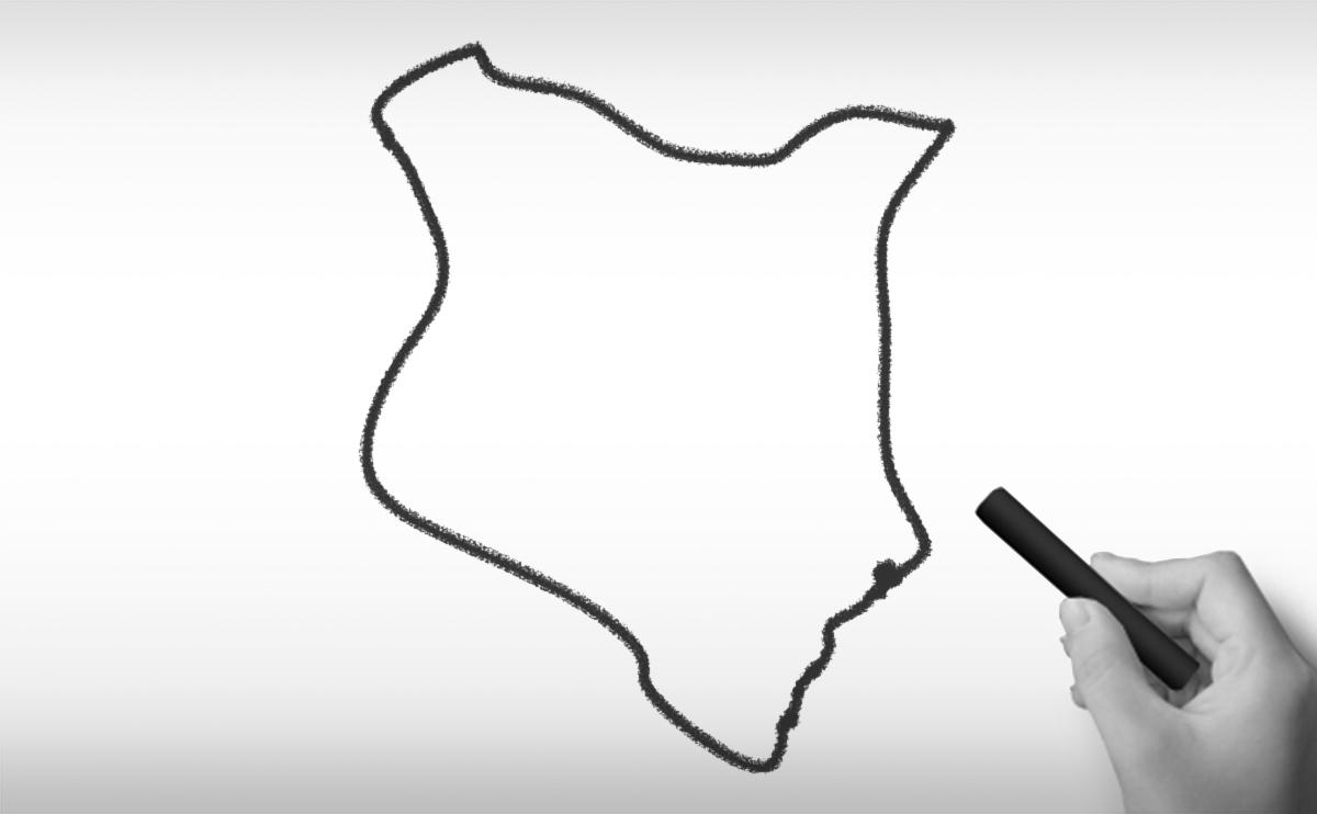 ケニア共和国の白地図イラスト