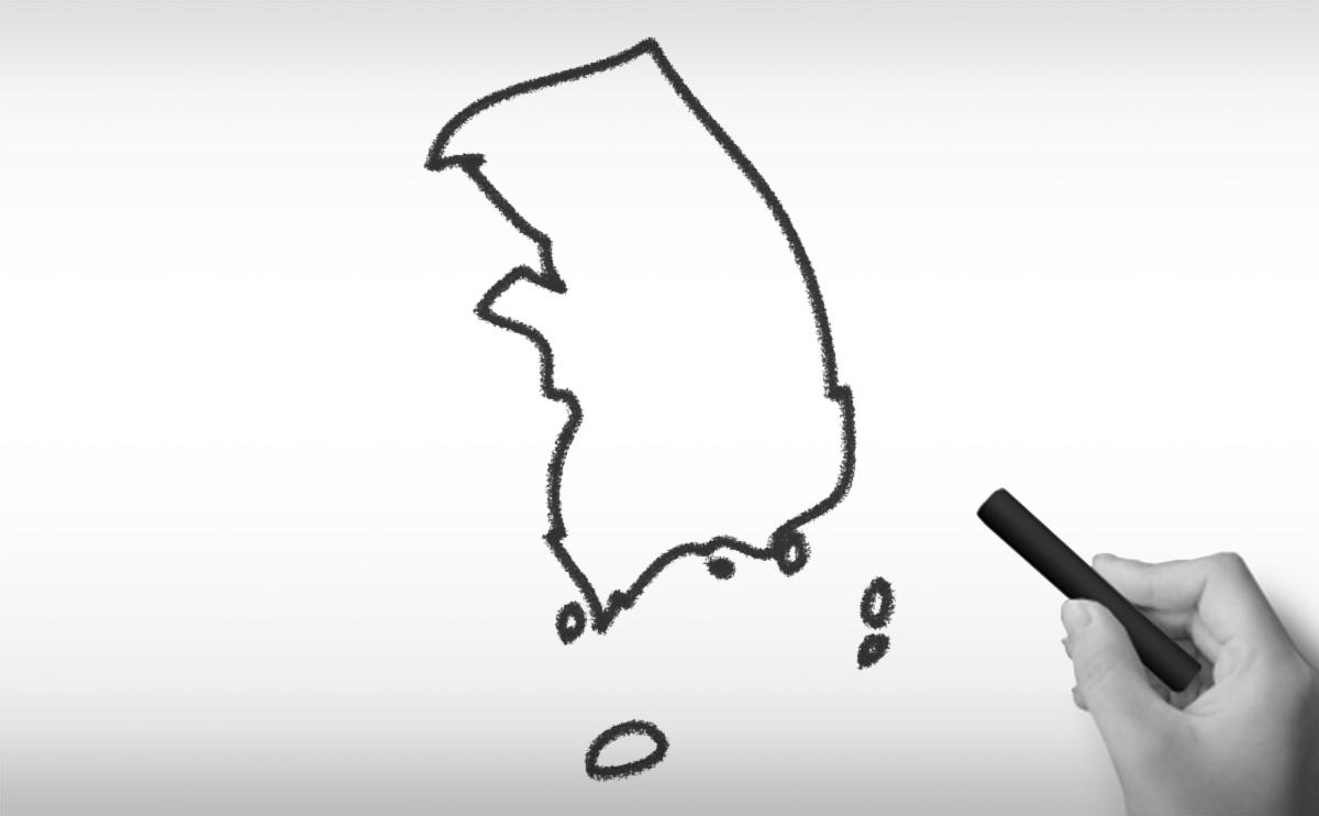 大韓民国の白地図イラスト