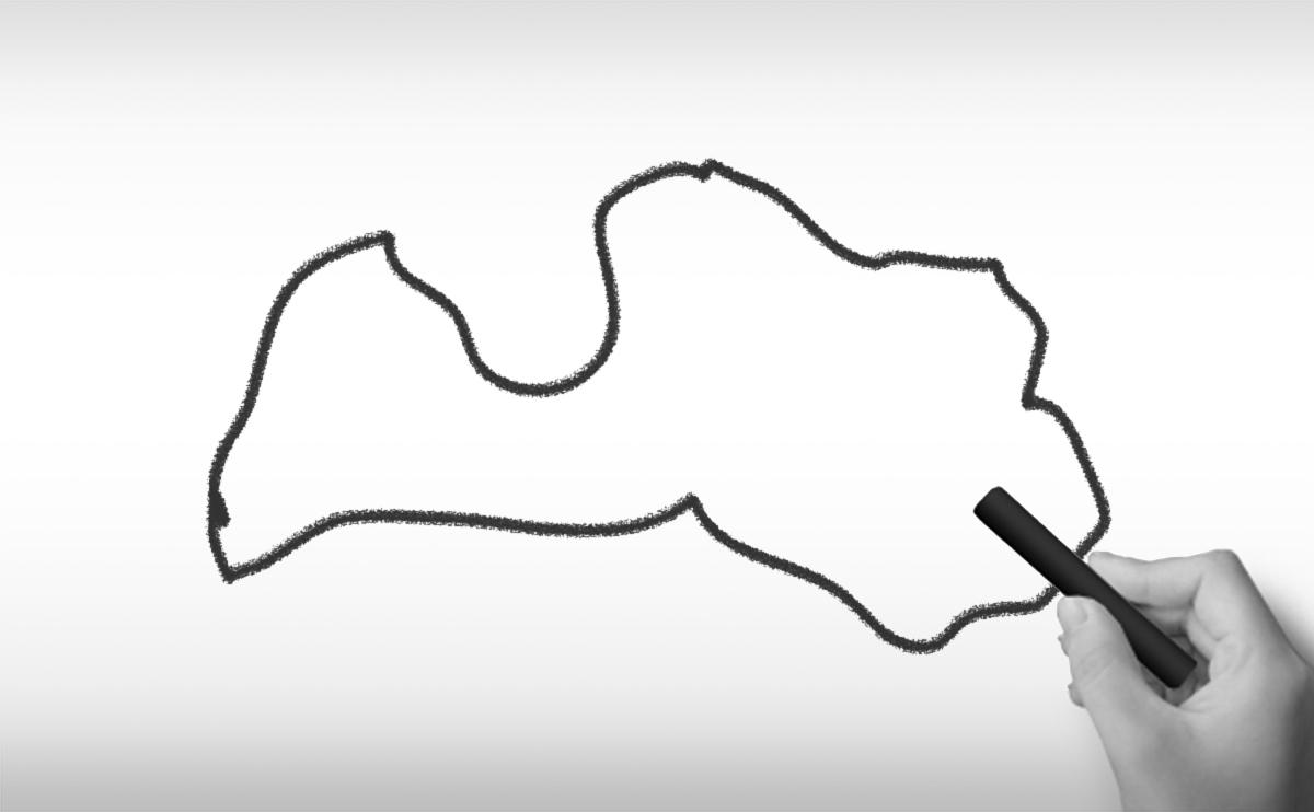 ラトビア共和国の白地図イラスト