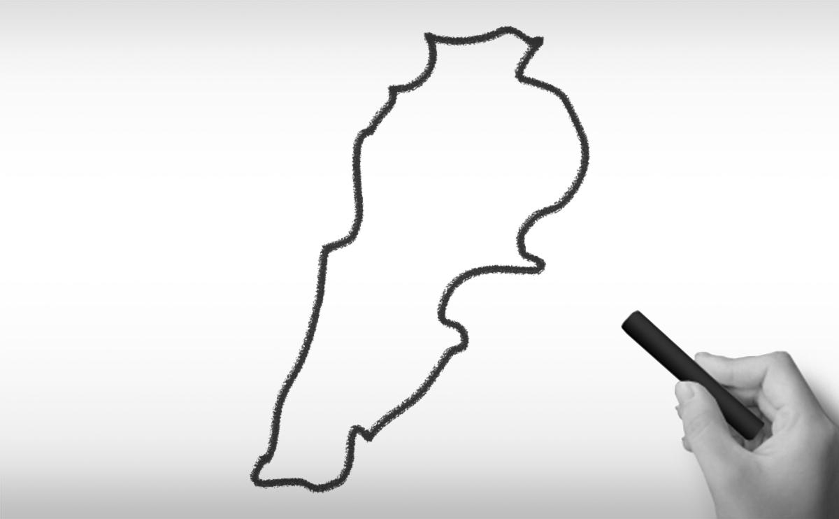 レバノン共和国の白地図イラスト