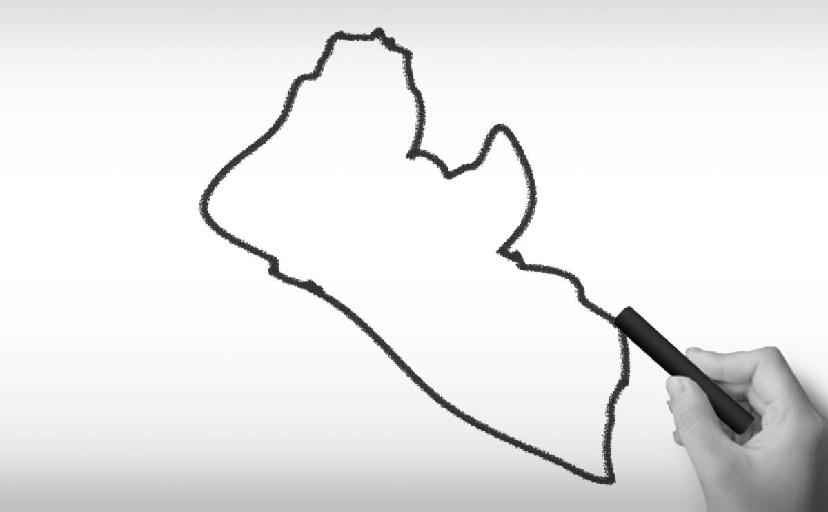 リベリア共和国の白地図イラスト