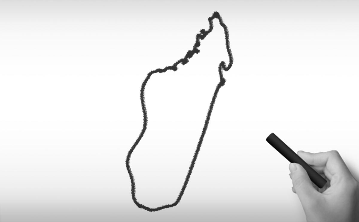 マダガスカル共和国の白地図イラスト
