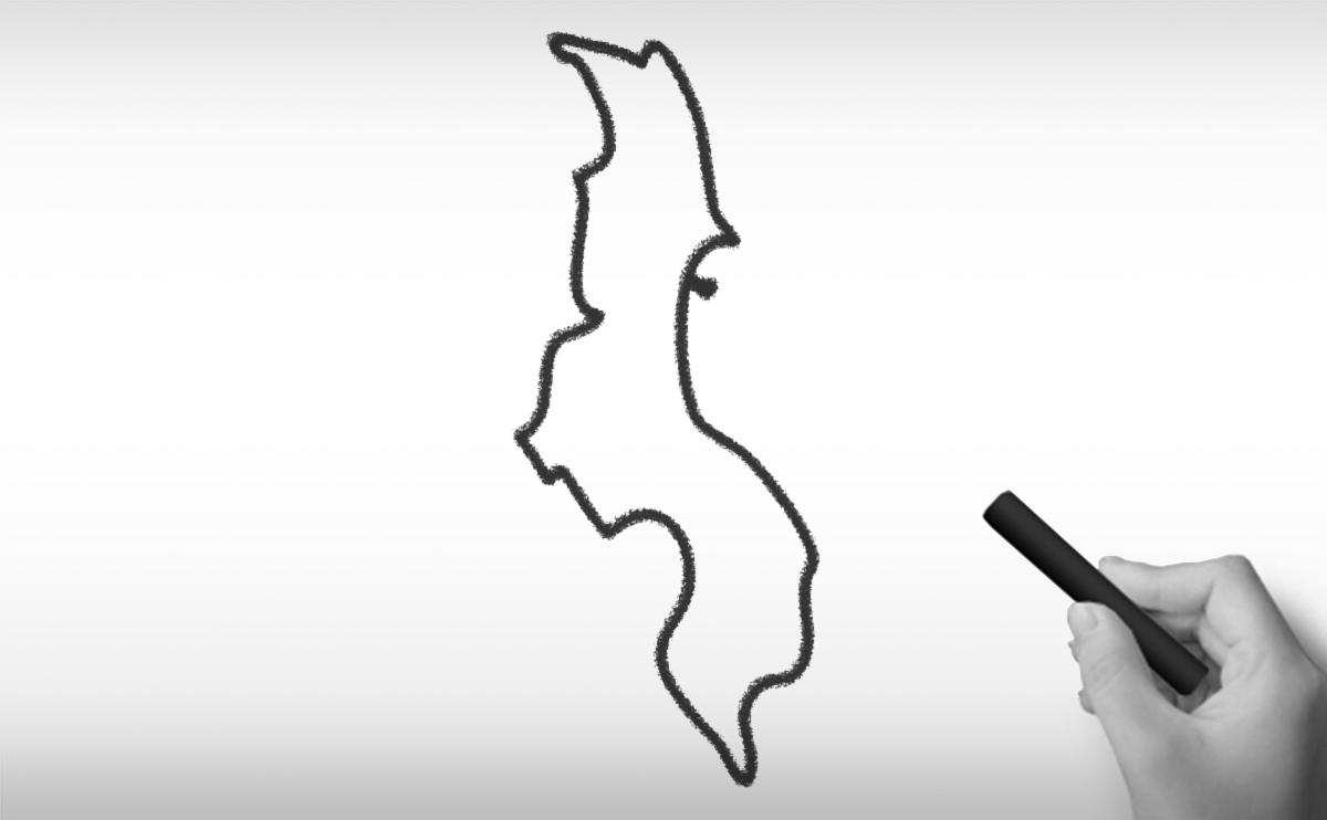 マラウィ共和国の白地図イラストイラスト
