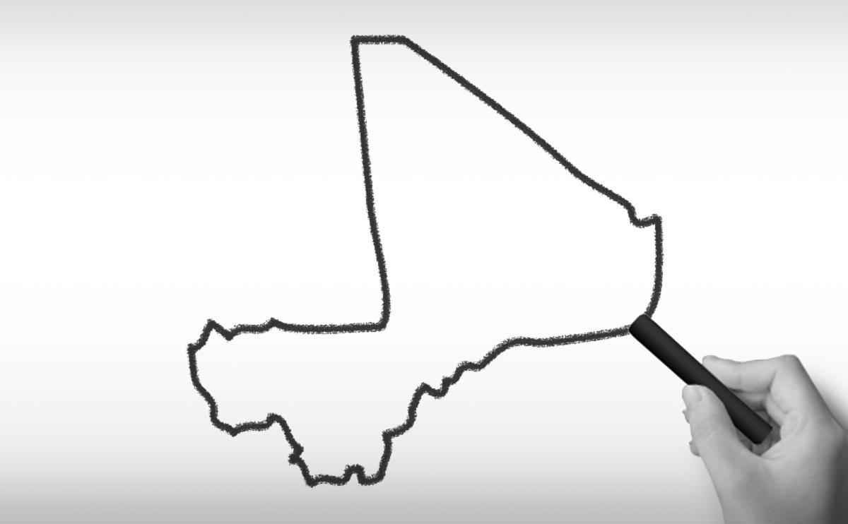 マリ共和国の白地図イラスト