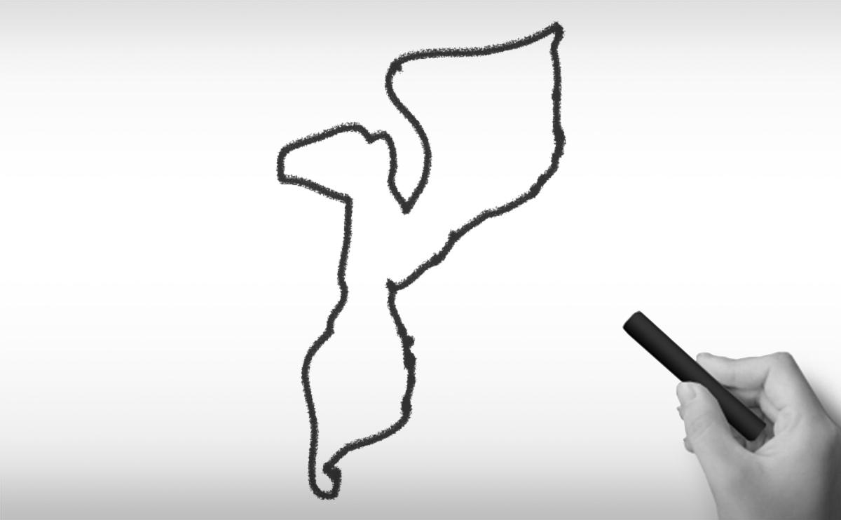 モザンビーク共和国の白地図イラスト