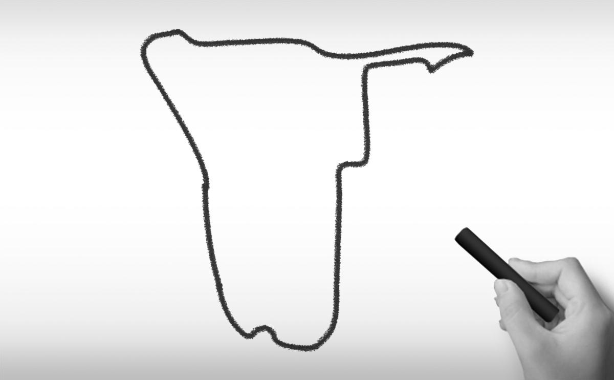 ナミビア共和国の白地図イラスト