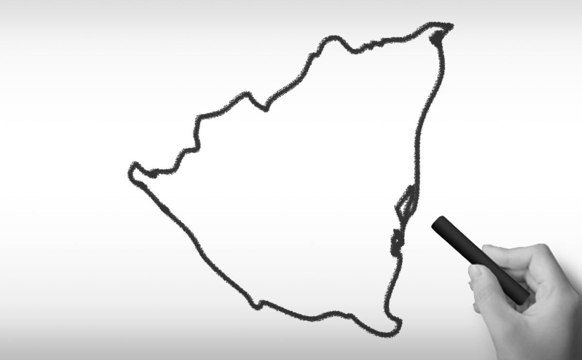 ニカラグア共和国の白地図イラスト
