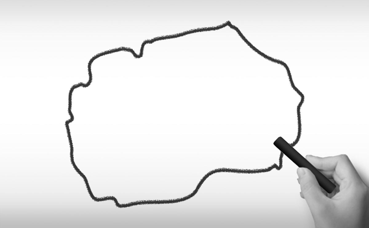 マケドニア旧ユーゴスラビア共和国の白地図イラストイラスト