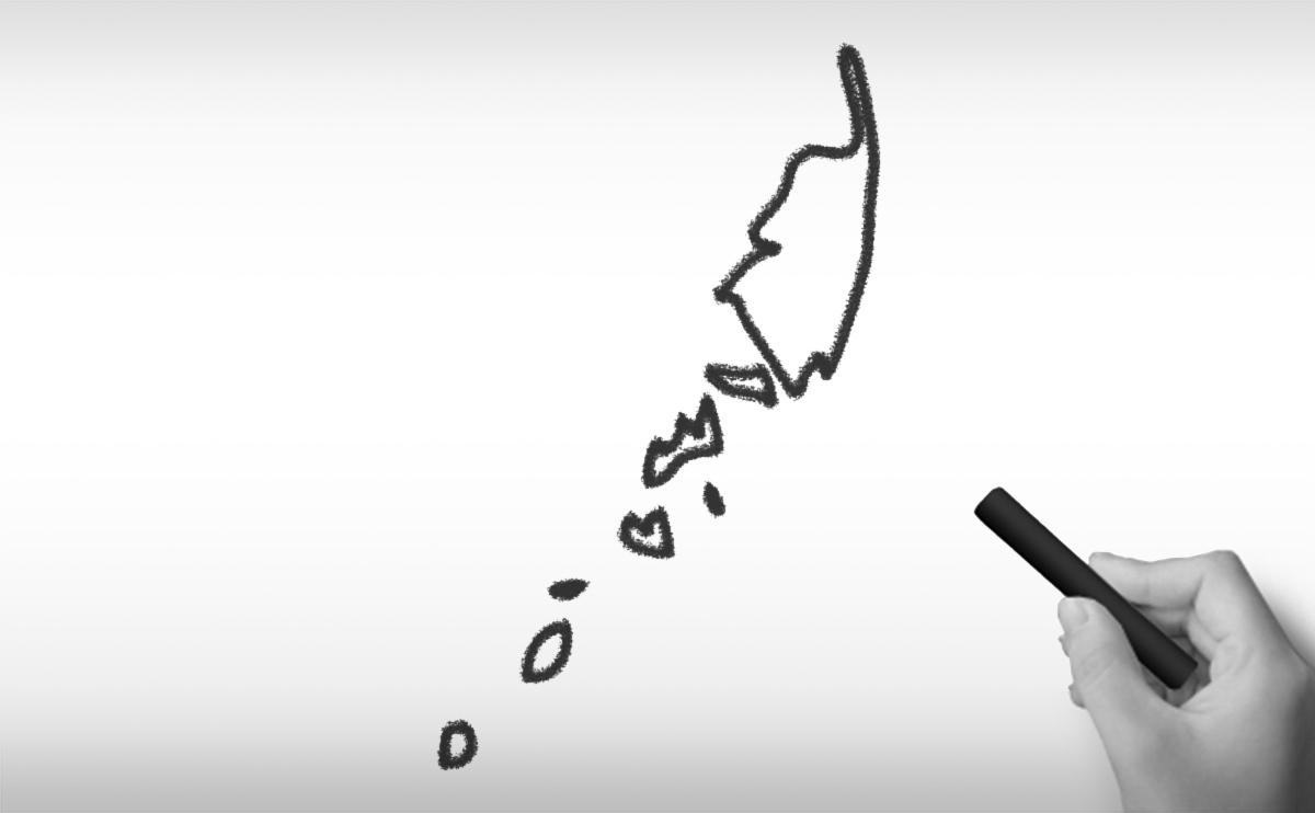 パラオ共和国の白地図イラスト