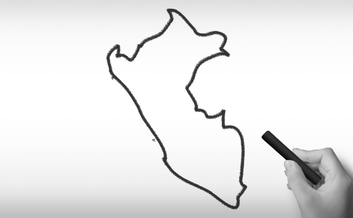 ペルー共和国の白地図イラスト