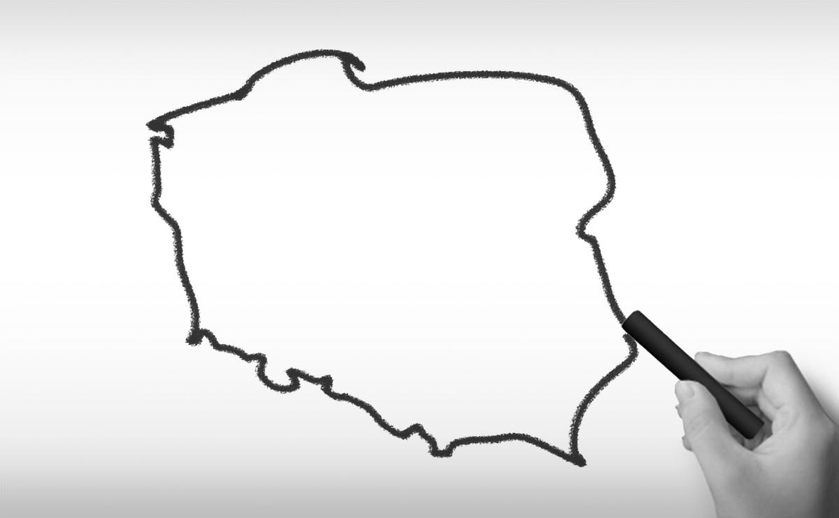 ポーランド共和国の白地図イラスト