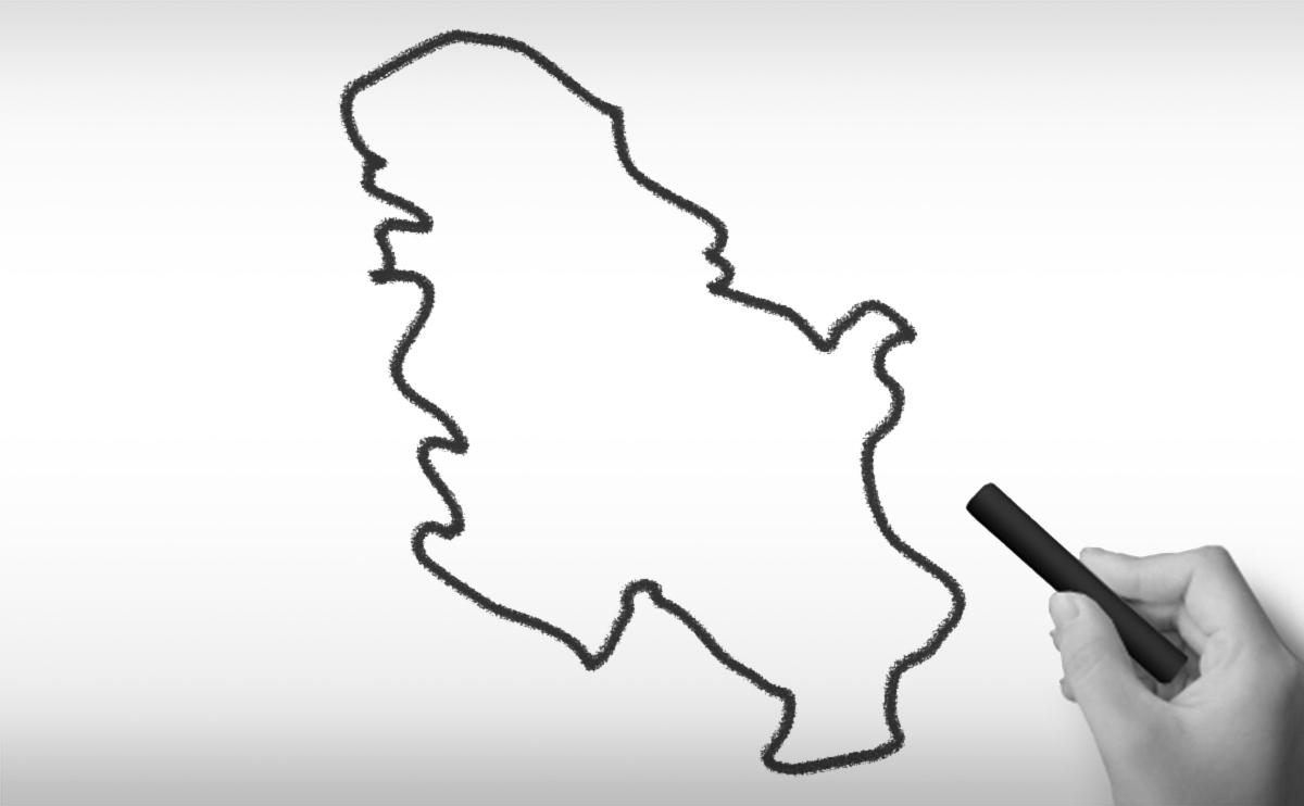 セルビア共和国の白地図イラスト