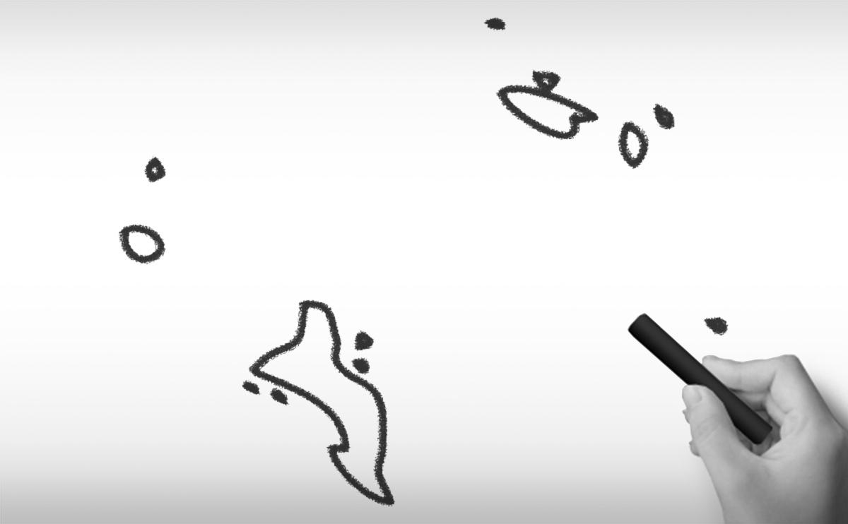 セーシェル共和国の白地図イラスト