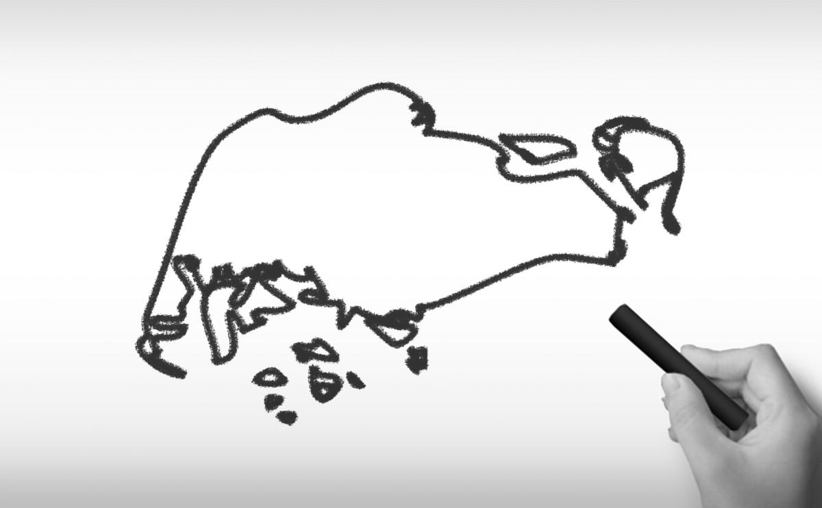 シンガポール共和国の白地図イラスト