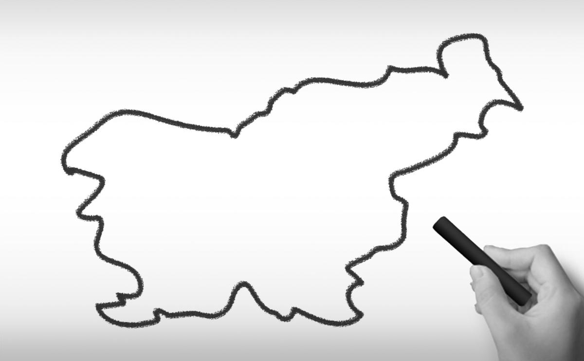 スロベニア共和国の白地図イラスト