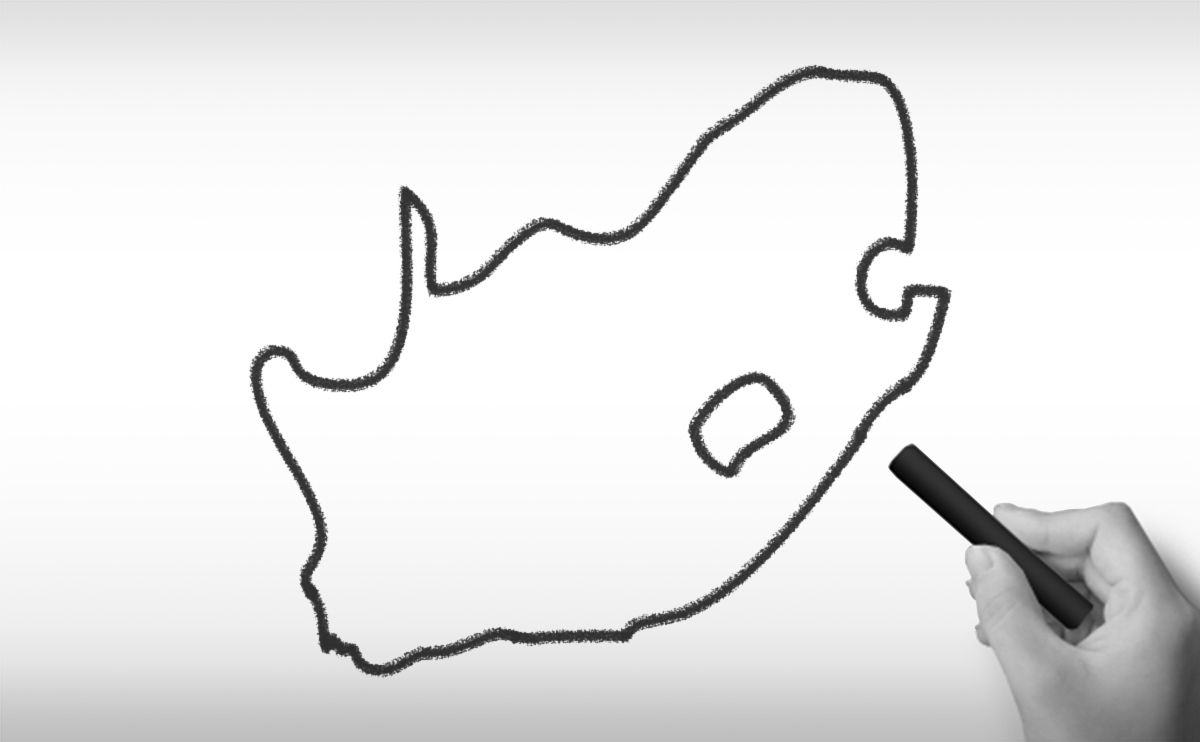 南アフリカ共和国の白地図イラスト