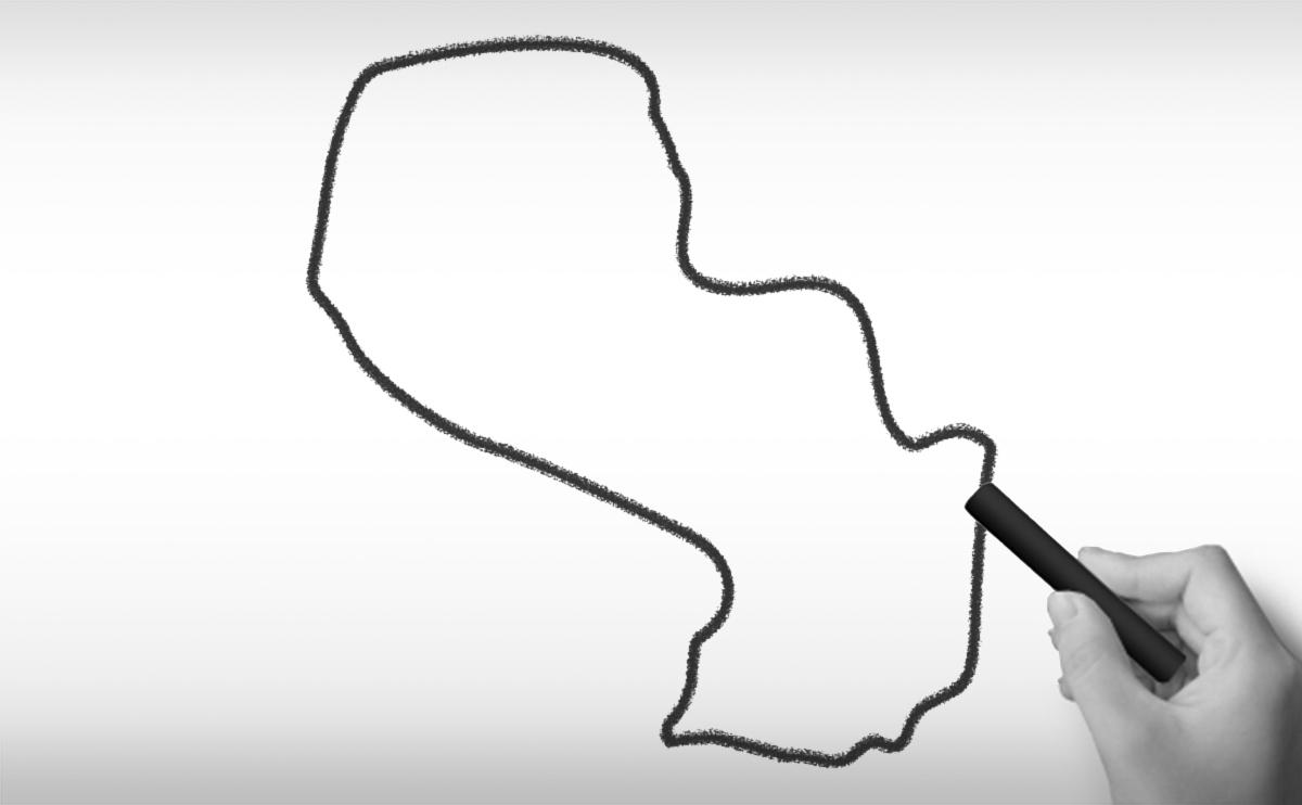 パラグアイの白地図イラスト