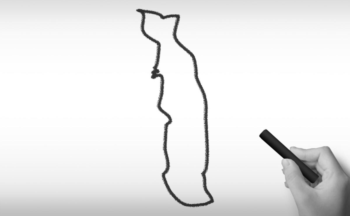 トーゴ共和国の白地図イラスト