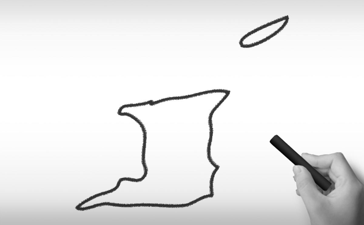 トリニダード・トバゴ共和国の白地図イラスト