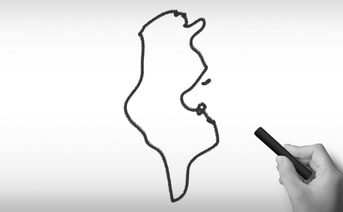 チュニジア共和国の白地図イラスト